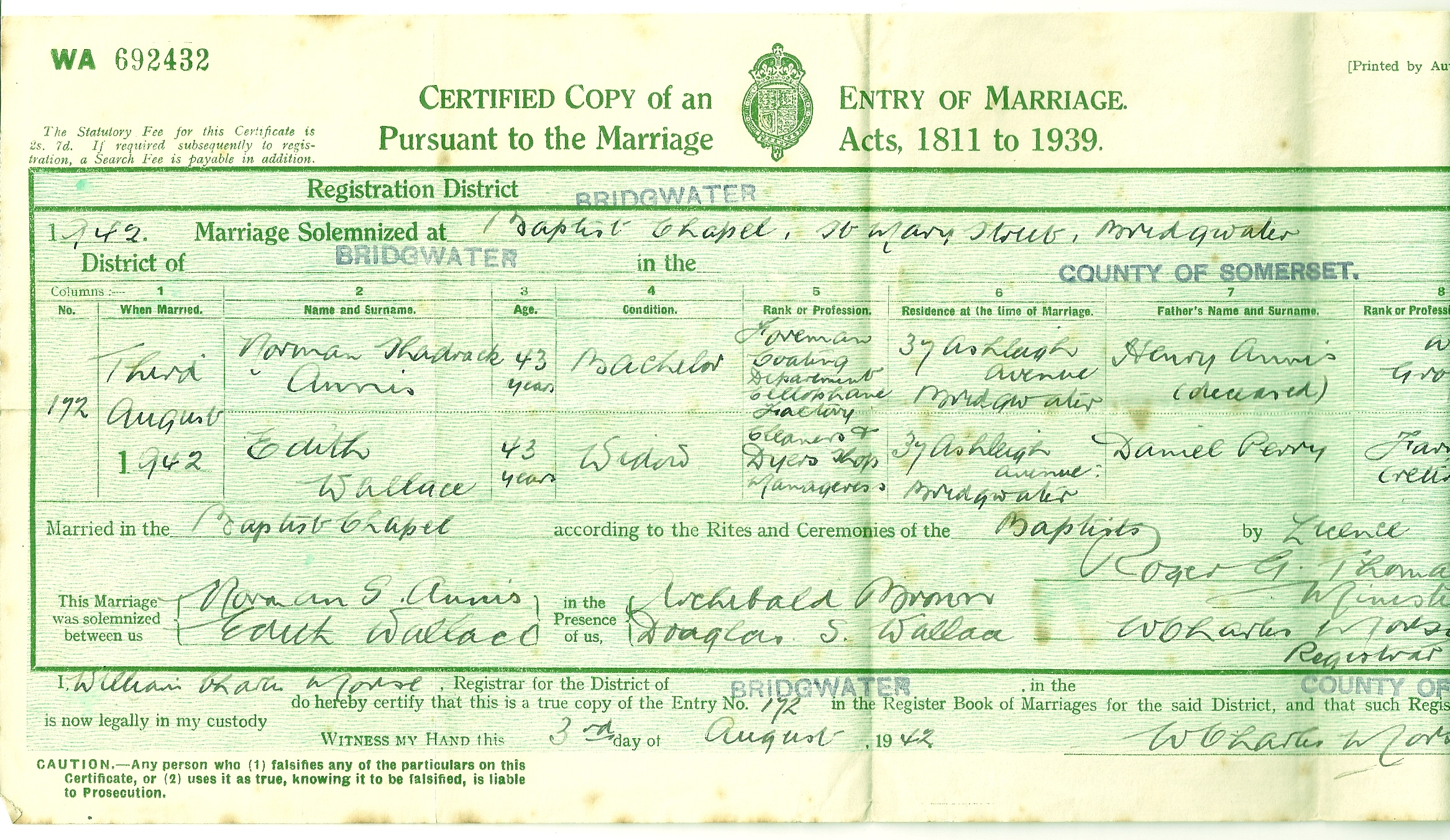 The tapscott family tree source page 1 annis norman s to perry marriage certificate aiddatafo Choice Image
