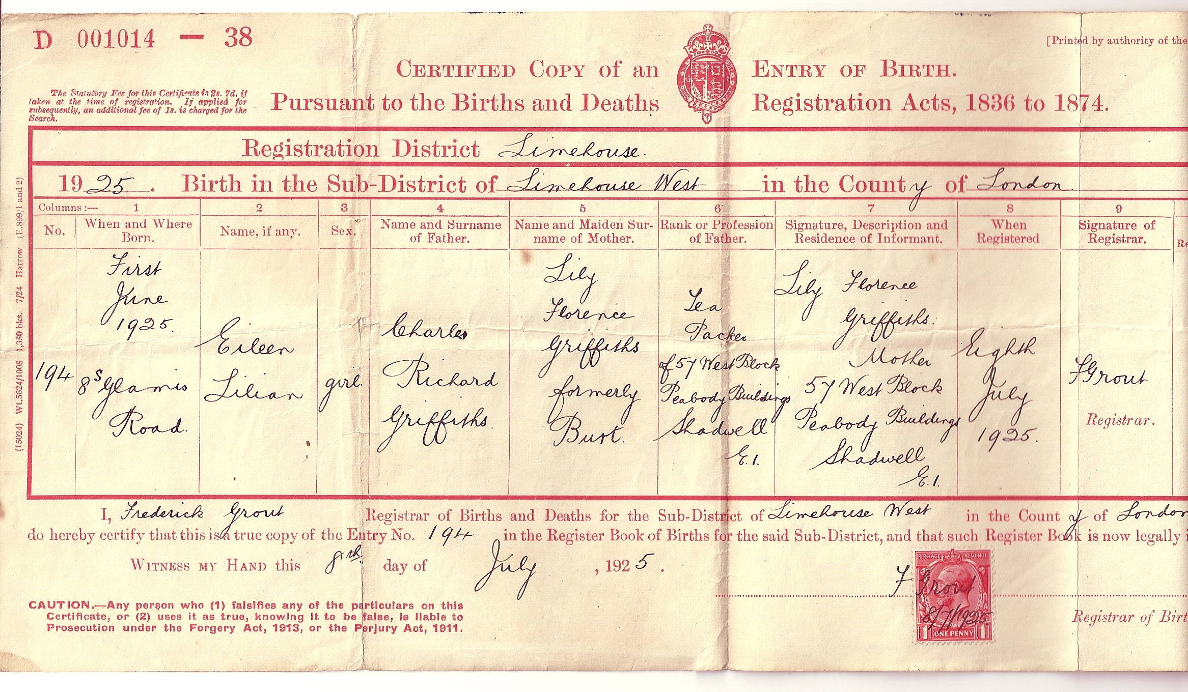 The tapscott family tree exhibits 3 griffiths eileen l birth certificate aiddatafo Gallery