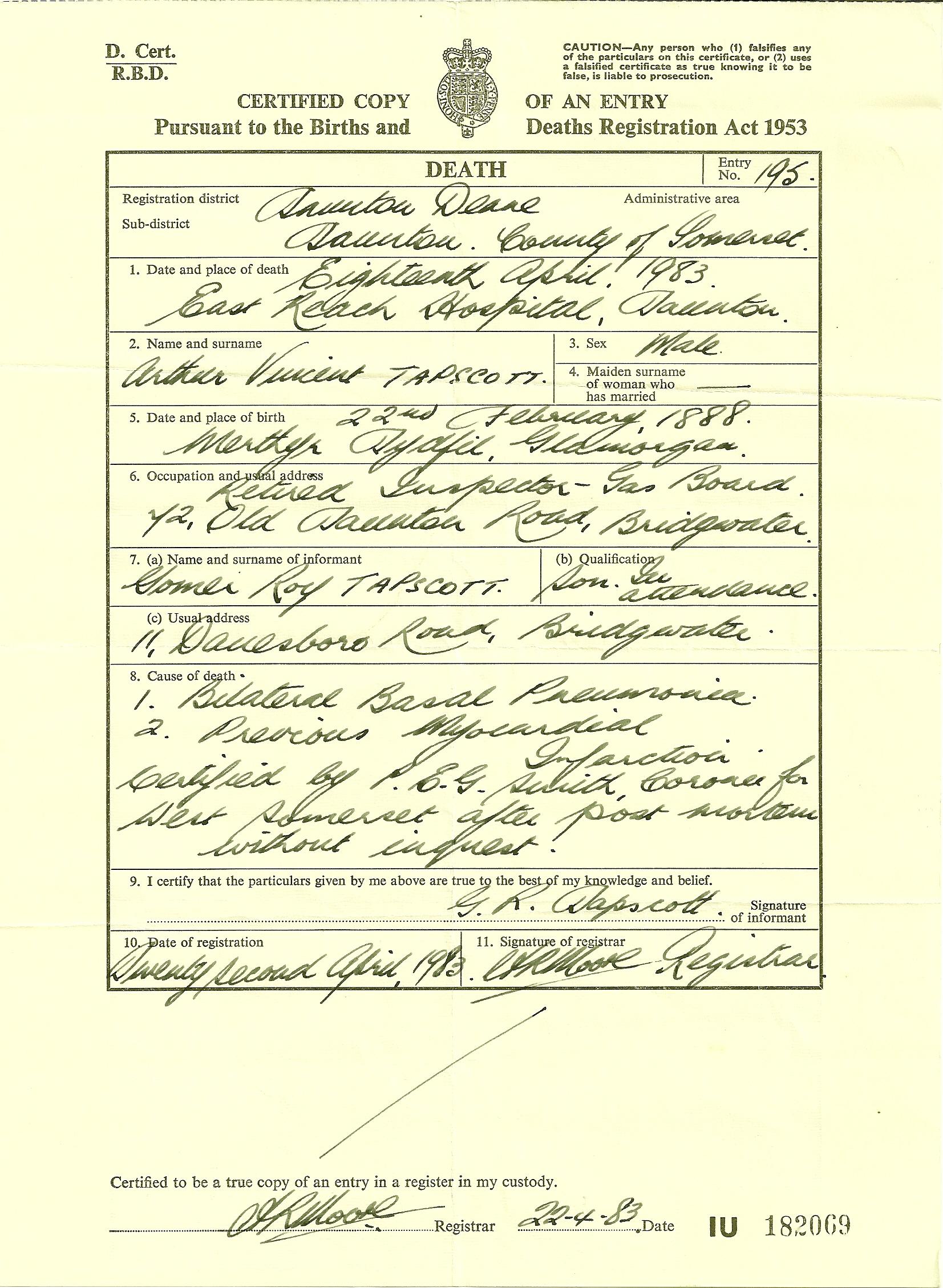 The tapscott family tree exhibits 3 tapscott arthur v death certificate aiddatafo Image collections