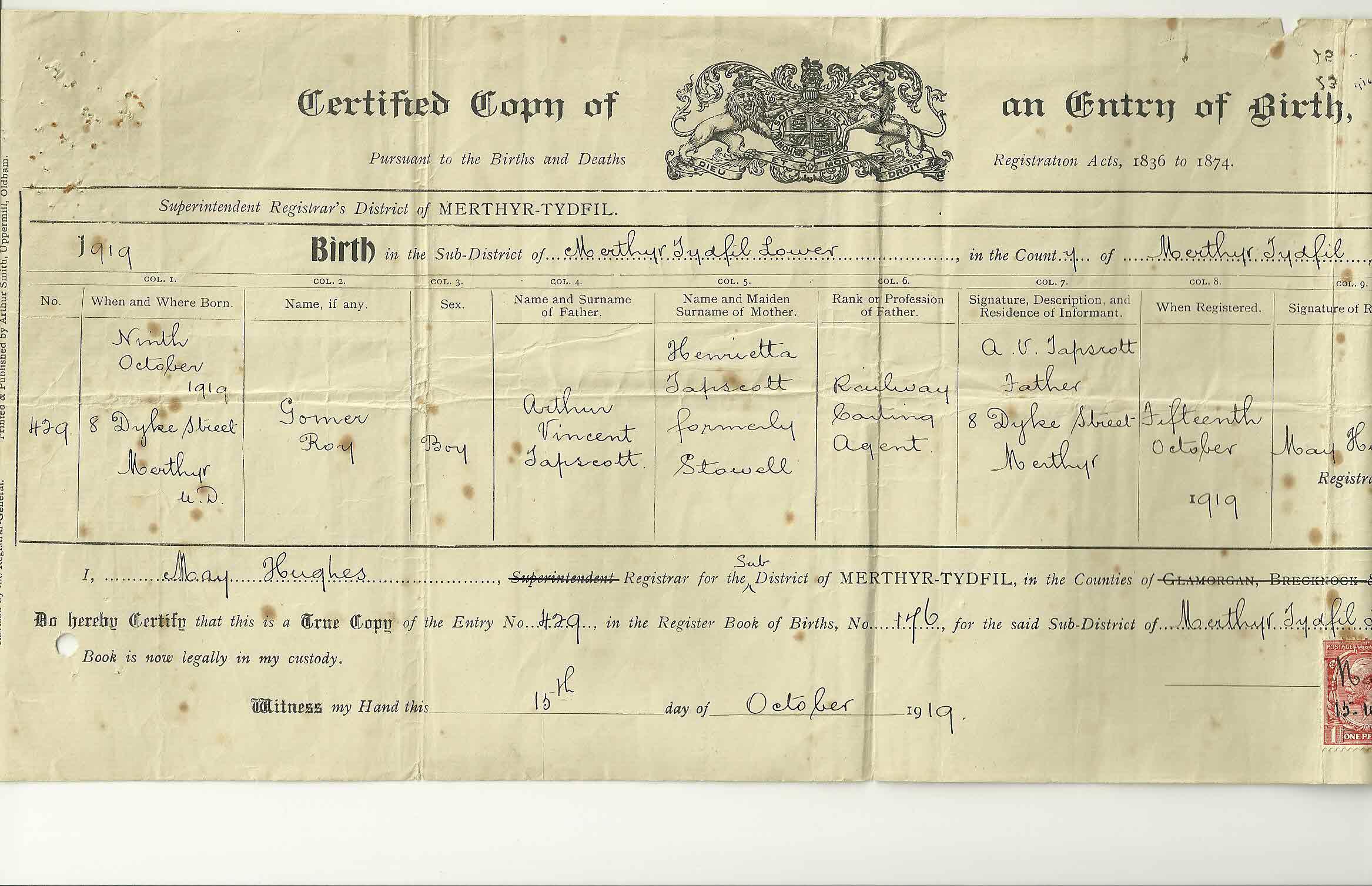 The tapscott family tree exhibits 3 tapscott gomer r birth certificate aiddatafo Images