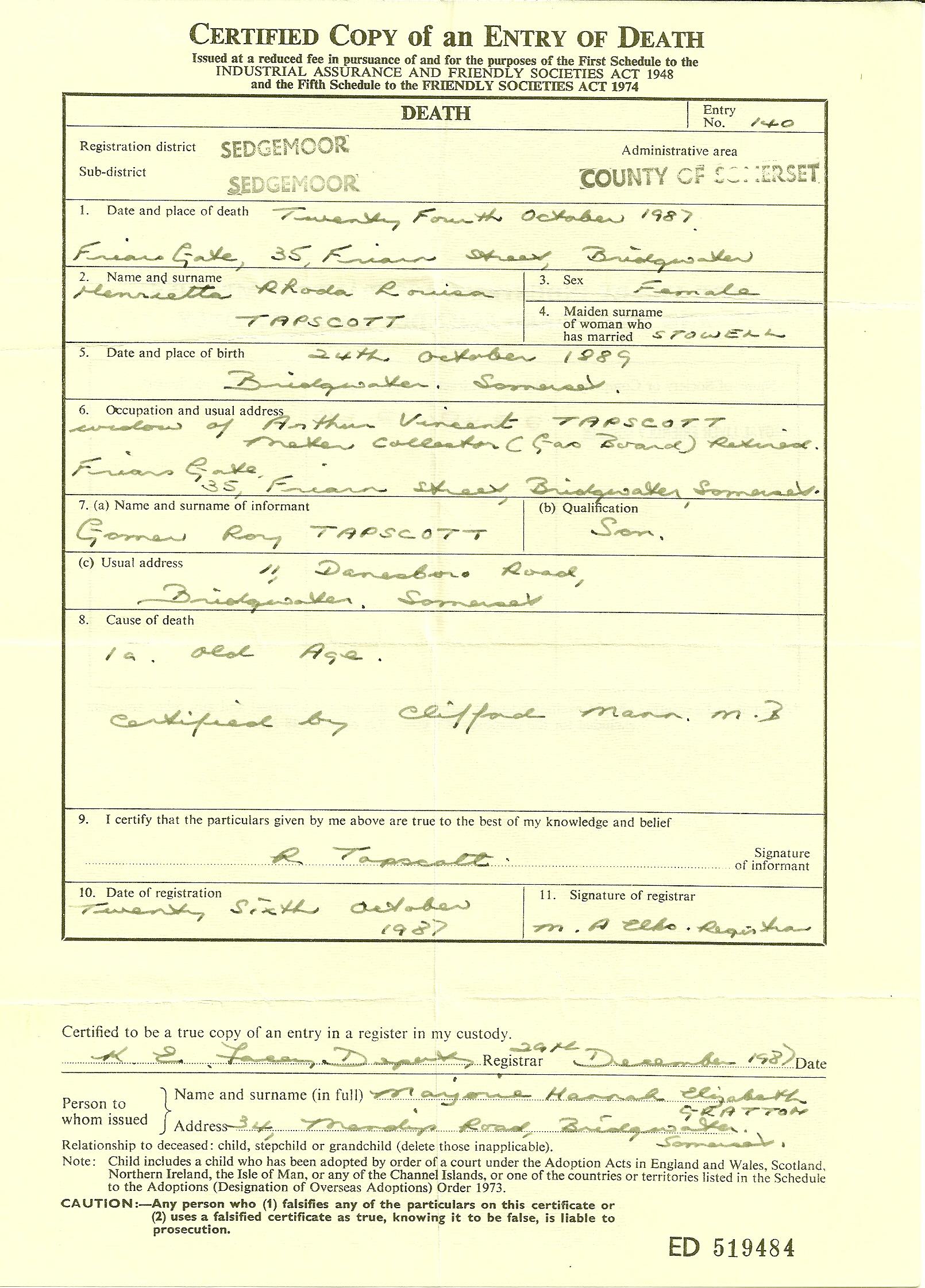 The tapscott family tree exhibits 3 tapscott henrietta death certificate aiddatafo Image collections