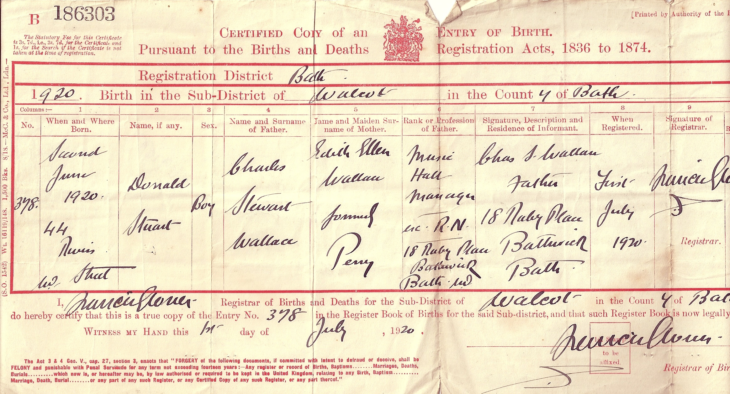 The tapscott family tree source page 1 wallace donald s birth certificate aiddatafo Images