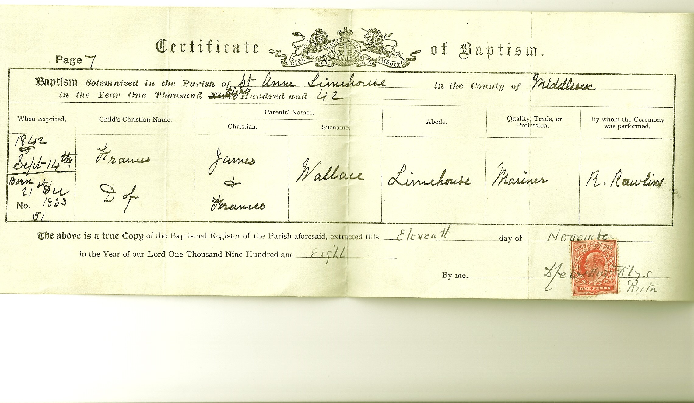 The tapscott family tree source page 1 wallace frances baptism certificate copy aiddatafo Choice Image