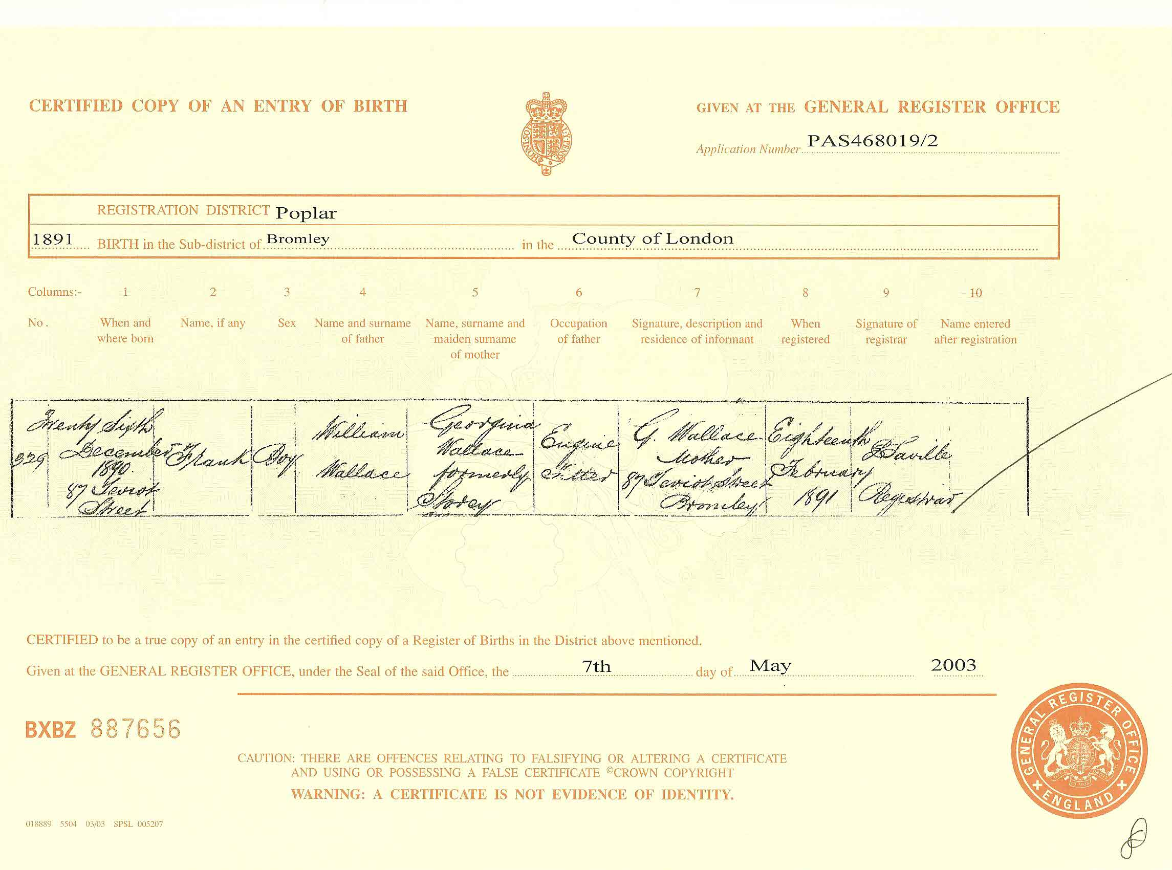 The tapscott family tree source page 1 wallace frank birth certificate aiddatafo Choice Image