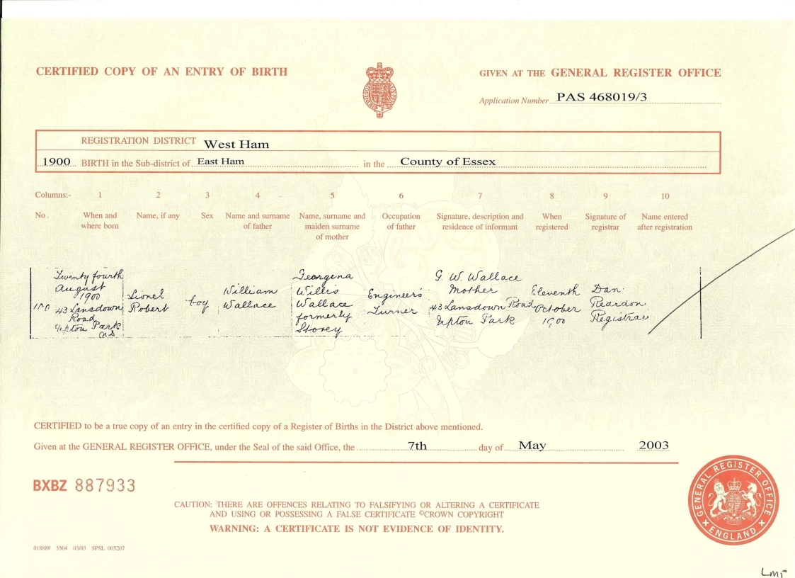 The tapscott family tree exhibits 3 wallace lionel robert birth certificate aiddatafo Choice Image