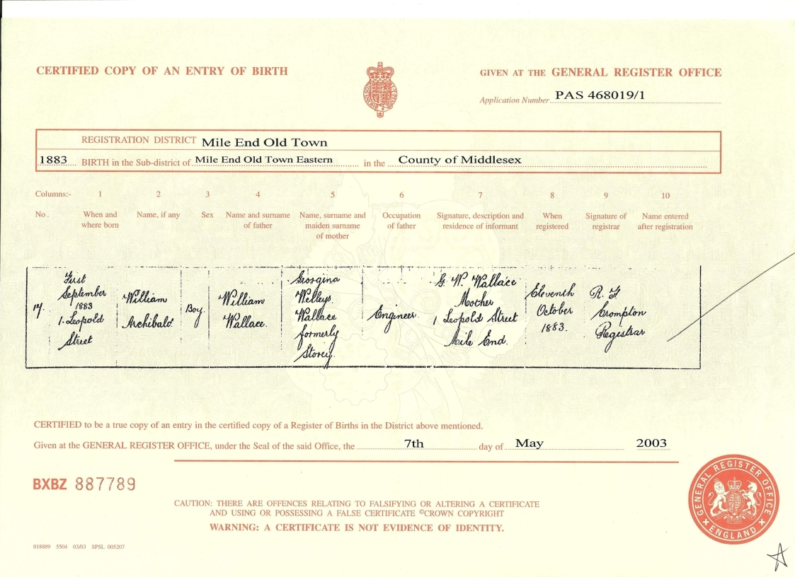 The tapscott family tree exhibits 3 wallace william archibald birth certificate aiddatafo Choice Image